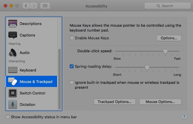Click on Mouse and Trackpad